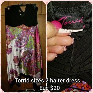 Torrid size 2 silky material halter dress